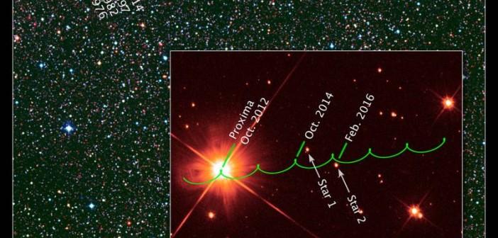 Grafika przedstawiająca trajektorię ruchu czerwonego karła Proxima Centauri (zielona linia) przez następną dekadę. Z uwagi na ruch Ziemi wokół Słońca (paralaksa) ścieżka poruszania się gwiazdy wydaje się nie przebiegać prosto / Credits: NASA, ESA, K. Sahu and J. Anderson (STScI), H. Bond (STScI and Pennsylvania State University), M. Dominik (University of St. Andrews), and Digitized Sky Survey (STScI/AURA/UKSTU/AAO)