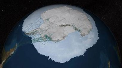 Wizualizacja prac przy budowie mapy Bedmap2 / Credits - NASA