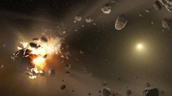 Wizja artystyczna przedstawiająca proces powstania rodziny asteroid / Credits: NASA/JPL-Caltech
