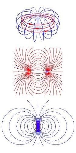 Zestawienie budowy anapola elektromagnetycznego (u góry, w kształcie toroidu, w którym zamknięty obwód magnetyczny), z polem elektrycznym (w środku) i magnetycznym (na dole). Widać, że linie pola anapola są zamknięte. W przypadku klasycznych pól nie wszystkie krzywe się zamykają. Wpływa to na możliwość oddziaływania z zewnętrznymi polami elektromagnetycznymi. (Credits: Michael Smeltzer, Vanderbilt University)