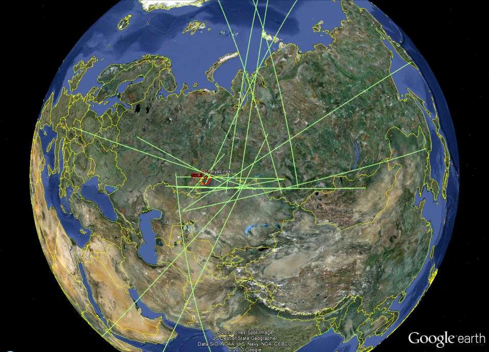 Falę uderzeniową meteorytu czelabińskiego odnotowało 20 stacji CTBTO / Credits: CTBTO, Google Maps