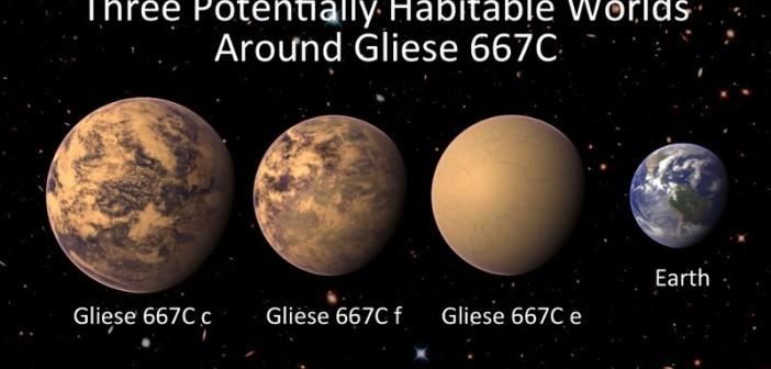 Porównanie szacowanych wielkości egzoplanet z ekosfery Gliese 667C z Ziemią / Credits - PHL @ UPR Arecibo, NASA