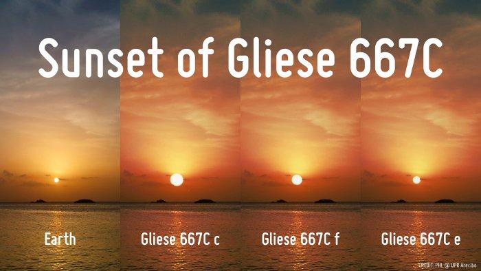 Zachód Słońca na egzoplanetach Gliese 667C i na Ziemi / Credits - PHL @ UPR Arecibo
