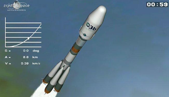 Kadr ze startu rakiety Sojuz ST-B z Gujany Francuskiej / Credits: Arianespace