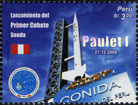Rakieta Paulet na peruwiańskim znaczku pocztowym