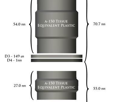 Przekrój przez instrument CRaTER sondy LRO. Warstwy od D1 do D6 stanowią detektory promieniowania, z czego cieńsze (148 mikrometrów) służą do wykrywania wysokoenergetycznych cząstek, a grubsze (1 milimetr) do cząstek o niskich energiach (np.: protonów). D1 i D2 są nieosłonięte materiałem A150 i skierowane są w przestrzeń kosmiczną. Są praktycznie bezpośrednio bombardowane przez promieniowanie kosmiczne i słoneczne. D3 i D4 są ukryte za osłonami a D5 i D6 skierowane są w stronę powierzchni Księżyca. Takie zestawienie pozwala na bardzo dokładne badania efektywności plastikowych przesłon. (Credit: NASA)