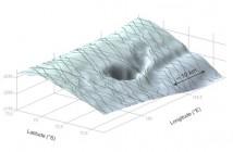 Krater CSGL, powstały po wypływie wody - grafika z danych Cryosat-2 / Credits - ESA, M. McMillan