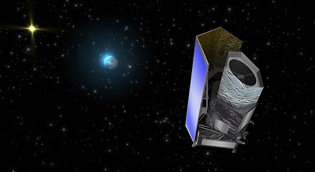 Euclid na orbicie docelowej w pobliżu punktu L2 - wizja artystyczna / Credits: ESA (C. Carreau)