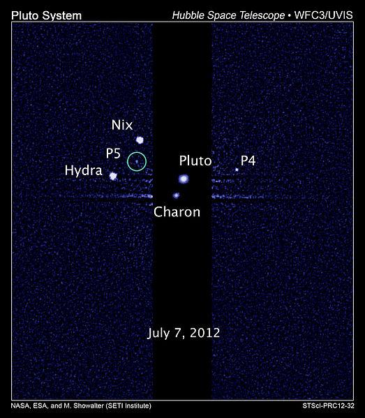 Księżyce Plutona obserwowane przez HST / Credits: NASA