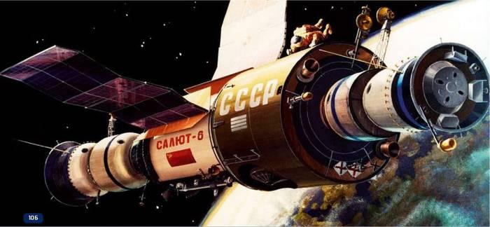 Wizualizacja Saluta 6 i przycumowanych statków Sojuz