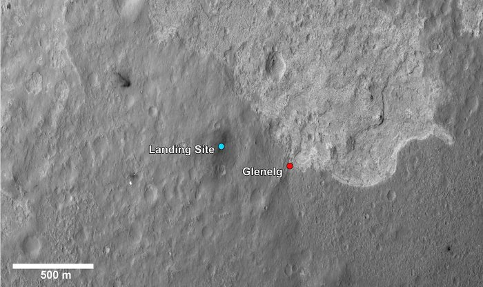 Miejsce lądowania MSL i obszar Glenelg / Credits - NASA, JPL