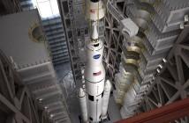 Grafika przedstwiająca rakietę SLS / Credits - NASA