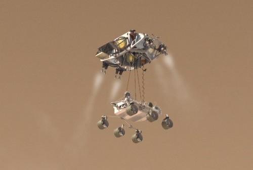 MSL ląduje na powierzchni Marsa / Credits - NASA