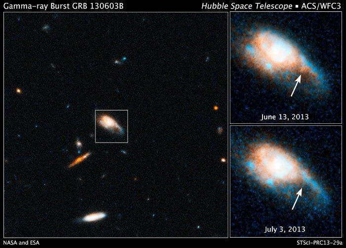 Poświata po rozbłysku GRB 130603B / Credits - NASA, ESA, N. Tanvir (University of Leicester), A. Fruchter (STScI), and A. Levan (University of Warwick)