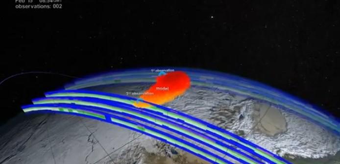 Kadr z filmu NASA o NPP obserwującym smugę meteorytu czelabińskiego / Credits: NASA