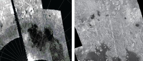 Zdjęcia przedstawiają morze Tytana i mniejsze jeziora. Zdjęcie po prawej uzyskane zostało przy pomocy spektrometru podczerwieni, a zdjęcie po lewej za pomocą radaru. Naukowcy porównali dziesiątki takich ilustracji na przestrzeni lat w poszukiwaniu zmian w ukształtowaniu linii brzegowej zbiorników węglowodrowych na Tytanie. Credits: NASA/JPL-Caltech/University of Arizona