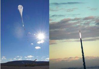 Misje BEXUS (lewa strona) i REXUS (prawa strona grafiki) / Credits - ESA