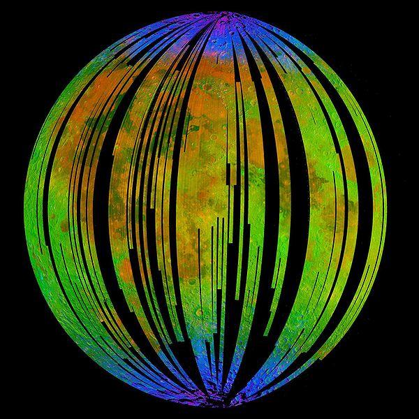 Obecność wody na Księżycu zobrazowana przez sondę Chandrayaan-1 /Credits: ISRO