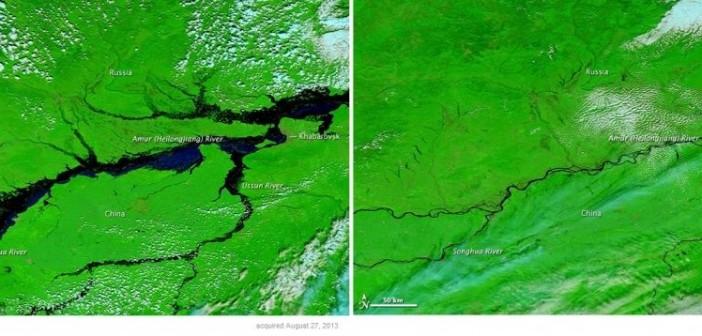 Zdjęcia okolic Chabrowska przed i w trakcie powodzi, wykonane instrumentem MODIS satelity Terra / Credits: NASA