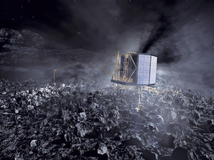Artystyczna wizja lądownika Philae na jądrze komety 67P/Czuriumow-Gierasimienko / Credits: ESA/AOES Medialab