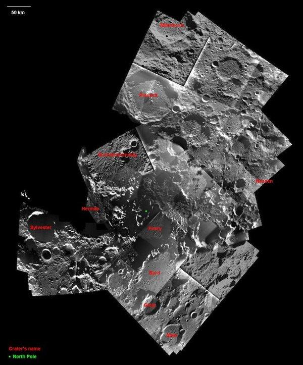 Okolice północnego bieguna Księżyca / Credits - ESA/SMART-1/AMIE/ M. Ellouzi & B. Foing