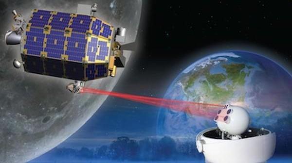 Wizja artystyczna sondy LADEE i wykorzystywanej łączności laserowej / Credits: NASA