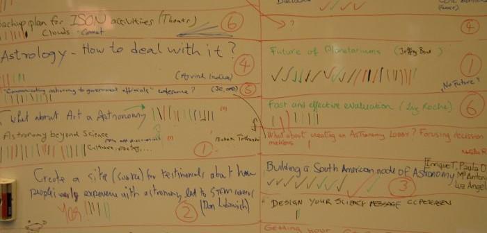 Tablica z tematami warsztatów CAP 2013 / Credits - K. Kanawka, kosmonauta.net