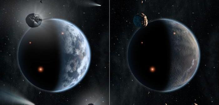 Artystyczna wizja dwóch światów - po lewej zasobnej w wodę planety składającej się z krzemianów , natomiast po prawej jałowej planety zasobnej w węgiel / Credits: NASA/JPL-Caltech