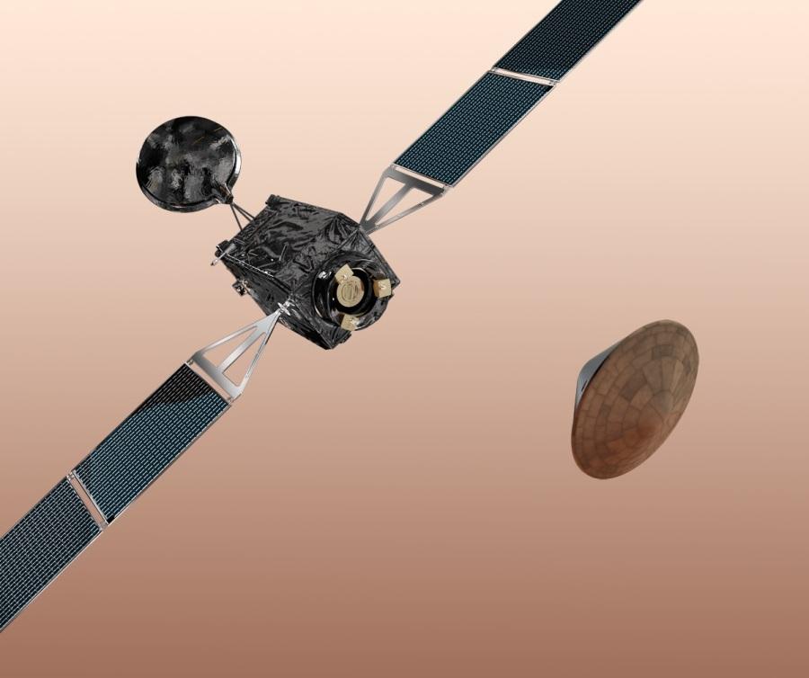 Sonda Trace Gas Orbiter i lądownik Schiaparelli / Credits: ESA & AOES Medialab