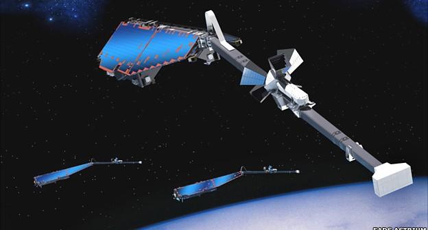 Satelity Swarm - wizja artystyczna / Credits: EADS Astrium