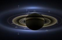 Mozaika zdjęć przedstawiająca Saturna i Ziemię / Credits: NASA/JPL-Caltech/SSI