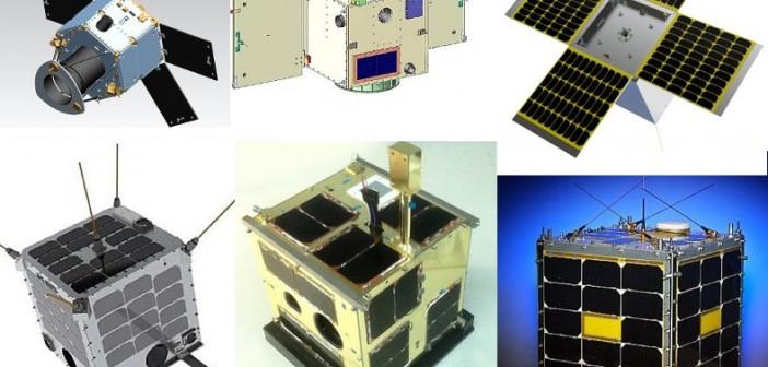 Satelity, które polecą na pokładzie rakiety Dniepr / Credits - CBK PAN, DubaiSat, STSSat, WNISAT, La Sapienza, AprizeSat
