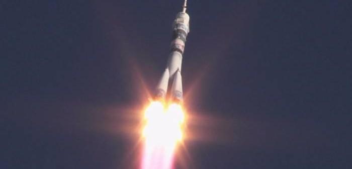 Start rakiety ze statkiem załogowym Sojuz TMA-11M / Credits: NASA TV