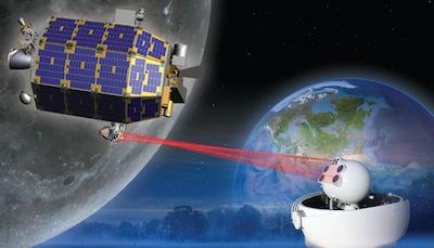 Wizja artystyczna działania aparatury do transmisji laserowej na księżycowej sondzie LADEE / Credits: NASA