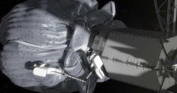 Grafika prezentująca EVA podczas misji przy małej planetoidzie / Credit: NASA