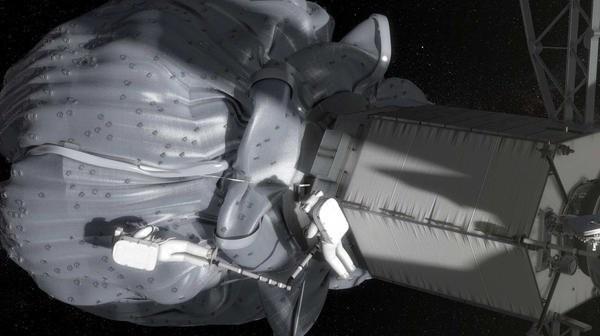 Grafika prezentująca EVA podczas misji przy małej planetoidzie / Credits - NASA