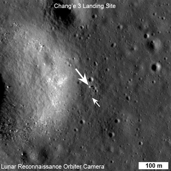 Chang'e 3 i Yutu na powierzchni Księżyca okiem LRO. Zdjęcie z 25 grudnia 2013 / Credits - NASA/GSFC/Arizona State University