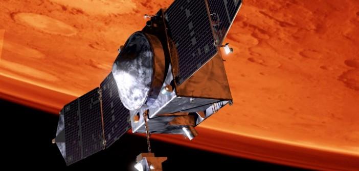 Sonda MAVEN na orbicie Marsa - wizualizacja / Credits: Lockheed Martin