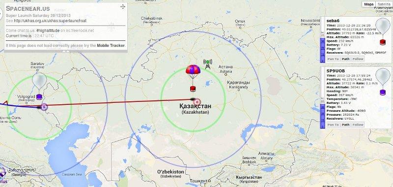 SEBA-6 nad Kazachstanem - 22:16 CET, 28.12.2013 / Credits - Spacenearus