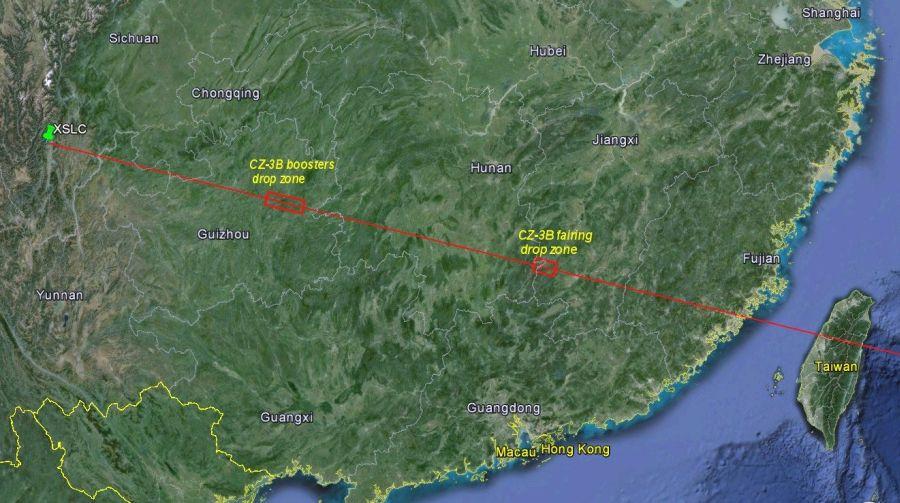 Trasa przelotu rakiety wynoszącej Change-3 / Credits: CNSA