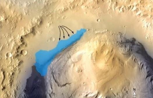 Kształt jeziora wewnątrz krateru Gale oraz potencjalne cieki wodne, które go zasilały / Credits - NASA