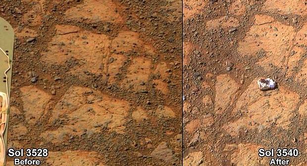 Pinnacle Island - miejsce przed i po pojawieniu się kamyka / Credits: NASA