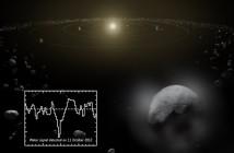 Wizja artystyczna gazowej otoczki wokół Ceresa oraz sygnatura wody zaobserwowana przez teleskop Herschel / Credits - ESA/ATG medialab/Küppers et al.