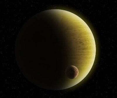Gazowy olbrzym z dużym skalistym egzoksiężycem / Credits - K. Kanawka, Kosmonauta.net