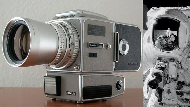 Kamera Hasselblad 500EL i jej montowanie na skafandrze w trakcie misji Apollo / Credits: Gizmodo