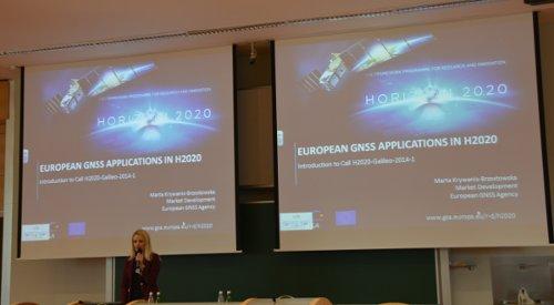 Jedna z prezentacji podczas warsztatów H2020 związanych z aplikacjami GNSS / Credits - K. Kanawka