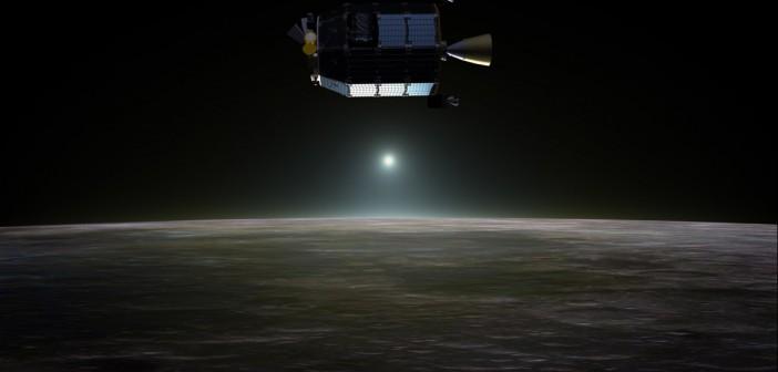 LADEE i zachód Słońca widziany z Księżyca - wizja artystyczna / Credits: NASA