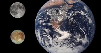 Porównanie wielkości Ziemi, Księżyca i Europy / Credits - domena publiczna