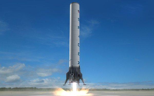 Artystyczna wizja lądującego dolnego stopnia rakiety F9R / Credits - SpaceX