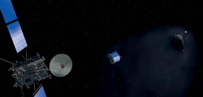 Philae opadający na jądro komety 67P / Credits - ESA